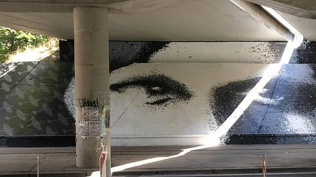 Graffiti k poctě Kurta Taussiga v Alejní ulici v Teplicích, dílo vytvořil sprejer Kamil Vacek