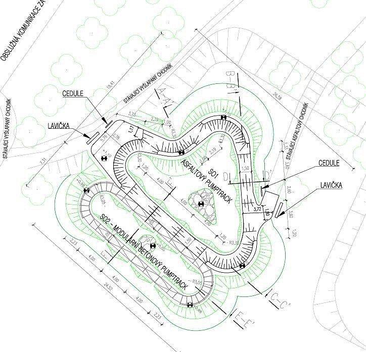 Nákres Pumptrackového hřiště v Trnovanech.