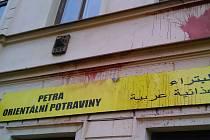 Poničený obchod v ulici Svatopluka Čecha v Teplicích
