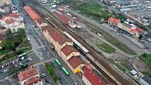 Letecký snímek lokality vlakového nádraží v Teplicích.