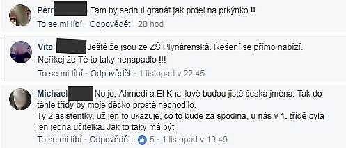 Nenávistné komentáře pod fotografií prvňáčků ze ZŠ Plynárenská.