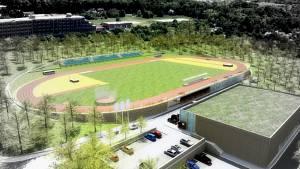 Do tohoto bývalého třešňového sadu chce město umístit atletický stadion.