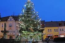 V Duchcově před vánočním stromem stojí betlém. Návrh vymyslela pracovnice městského úřadu.