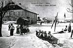 Zima v Krušných horách na archivních pohledech a fotografiích. Cínovec.