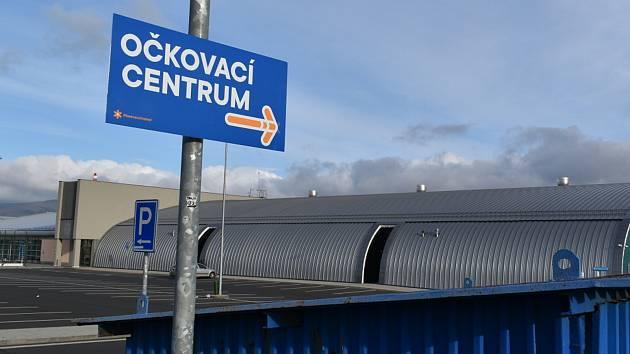 Očkovací centrum ve Sportaréně na Stínadlech v Teplicích.