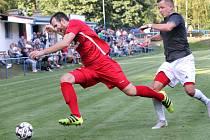 MOL Cup 2019 1. kolo - Fotbalisté Srbic (černobílí) podlehli v pohárovém utkání Královu Dvoru (červení) 1:2. Hrálo se na stadionu v Chlumci.