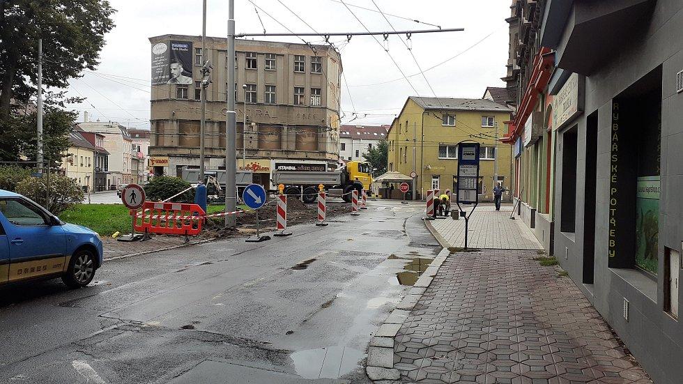 Úprava přechodu v Trnovanech, Teplice, 27. srpna 2021