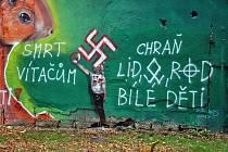 Na zdi soukromého areálu bývalé plovárny vZámecké zahradě vTeplicích se vtěchto dnech objevily nacistické symboly a urážlivé texty.