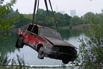 Utopené auto v Márince u Světce