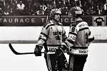 ČSSR - Švédsko, mezinárodní utkání v hokeji na teplickém zimním stadionu 4. dubna 1986.