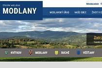 Hlavní strana úspěšného webu obce Modlany