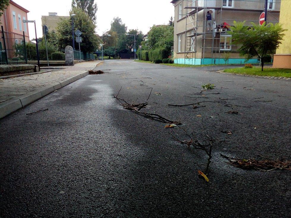 Noční bouřky zanesly kanály v Proboštově u Teplic.