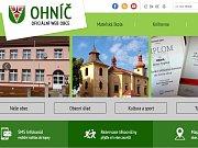 Část hlavní strany webu obce Ohníč