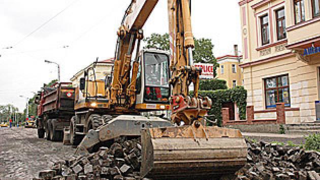 Opravy Masarykovy ulice v Teplicích.