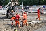 Rekonstrukce kruhového objezdu Bílinská. Uzavřený vjezd na silnici I/8 na Prahu