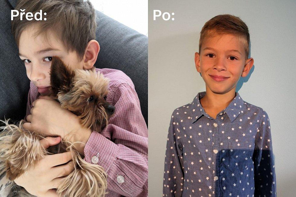 Školák Matěj z Háje u Duchcova před a po návštěvě kadeřníka.