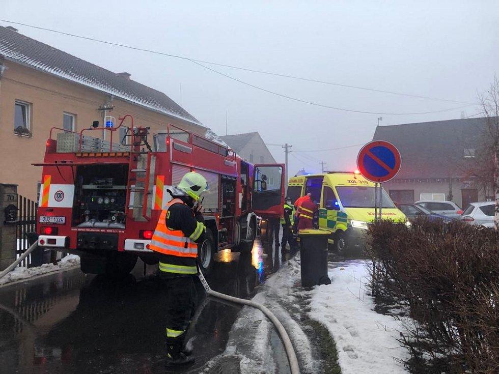Požár domu v Soběchlebech.