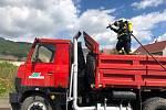Požár nákladního auta v Krupce.
