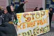 Z demonstrace proti islamizaci v Teplicích, narušení odpůrci, policie zabránila konfliktu.