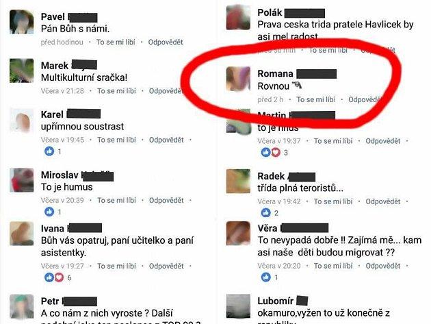 Za tento komentář k fotce prvňáků z Prosetic obvinila policie ženu z Tachovska.