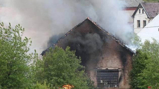 Požár stodoly v Žalanech