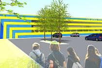Zastavovací studie ověřující možnosti umístění stadionu. Boční pohled. (autor studie: MiSe)