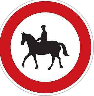 Zákaz vjezdu pro jezdce na zvířeti  (B31 Zákazová dopravní značka)