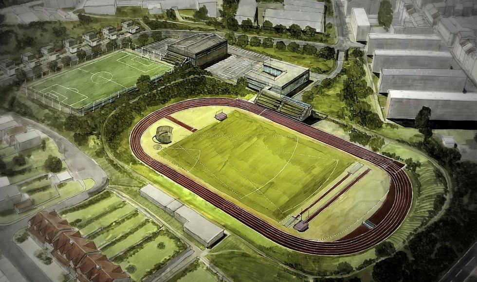 Vizualizace, Hvězda Trnovany, i zde by mohl být atletický areál. Problém je ale s pozemky.