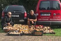 V lesích na Cínovci našli houbaři z teplické resturace Aladdin 13 bedýnek a dva koše hub.