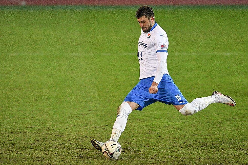 Utkání 21. kola první fotbalové ligy: FC Baník Ostrava – FK Teplice, 27 února 2021 v Ostravě. Patrizio Stronati z Ostravy.