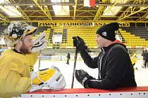Pavel Francouz a Zdeněk Orct při tréninku