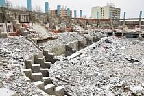 Ruiny teplického zimního stadionu, leden 2013