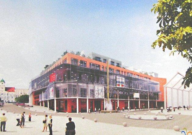 Vizuální podoba nového obchodního centra s byty vedle Prioru na náměstí Svobody.