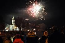 Novoroční ohňostroj v Duchcově.