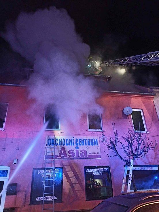 Požár domu v Duchcově