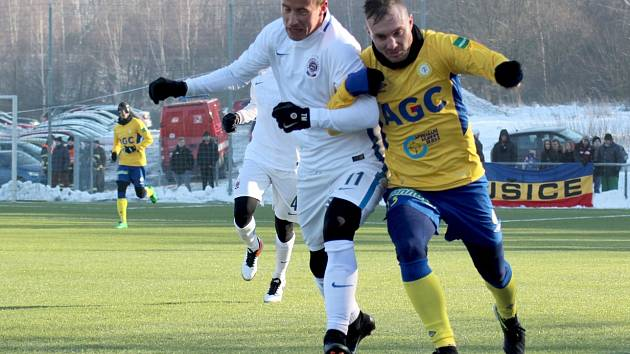 Jakub Hora v utkání se Spartou, které Teplice v přípravě prohrály 0:4