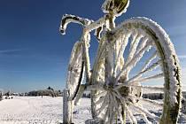 Horský ideál: sníh, mráz a slunce. Snímky jsou z Cínovce 24. ledna 2019