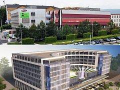 Budova Telecomu na teplickém náměstí Svobody (nahoře) a vizualizace luxusního hotelu, který ji má nahradit