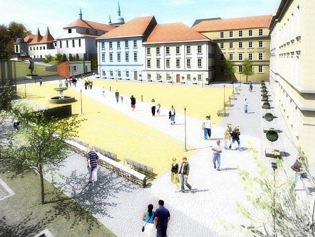 Vizualizace úpravy Lázeňského náměstí v Teplicích.