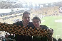 František Bílek a Bobeš Kudrhalt na fotbale v Drážďanech