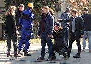 Příprava klíčové scény natáčení epizody seriálu Sever v Proboštově.