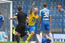 David Vaněček slaví gól do sítě Liberce