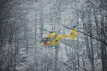 Cvičení HS Krušné hory s Leteckou záchrannou službou Ústí nad Labem.