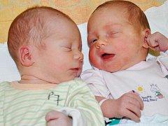 FRANTIŠEK A KRISTÝNA KŘÍŽOVI se narodily Marcele Křížové z Teplic 30. listopadu v 18.21 hod. a v 18.33 hod. František měřil 48 cm a vážil 2,70 kg, Kristýna měřila 46 cm a vážila 2,65 kg.