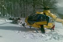 Zásah vrtulníku na Bouřňáku na Teplicku