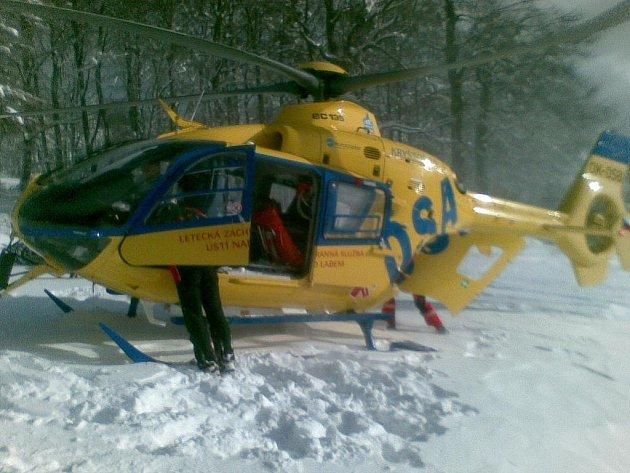 Zásah vrtulníku na Bouřňáku na Teplicku/ilustrační foto