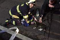 Požár bytu v domě v ulici Čs. dobrovolců v Teplicích.