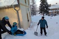 Zima na Moldavě. Fotografie je ze 7. února.