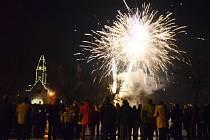 Novoroční ohňostroj v Duchcově