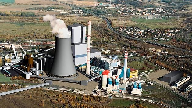 Stavba u elektrány v Ledvicích